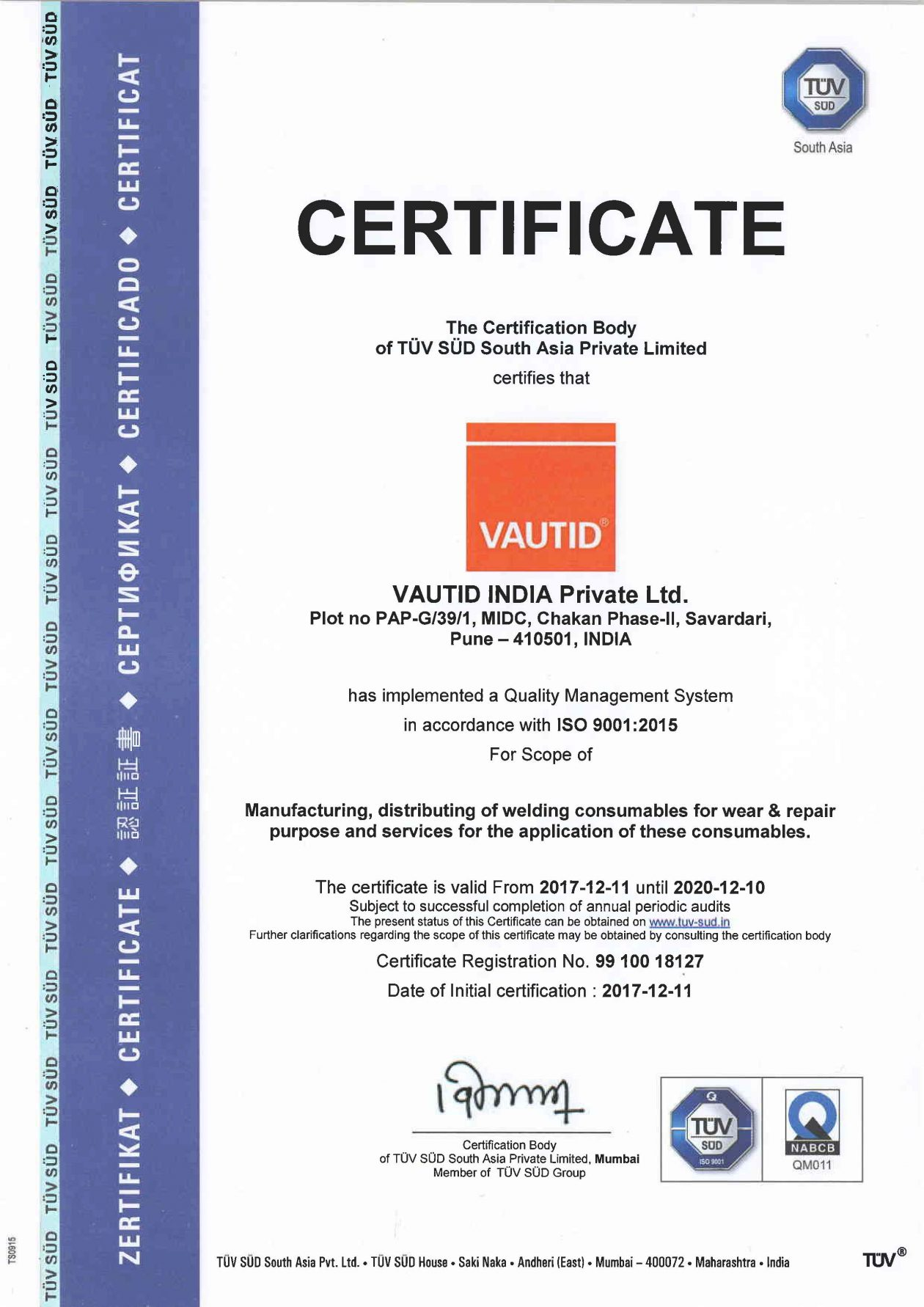 Vautid India Private Ltd Tuv Certified Vautid Gmbh