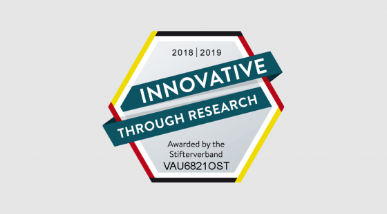 """Innovation through Research"" label"